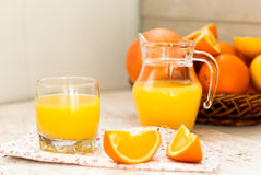 Juice and oranges Royalty Free Stock Images