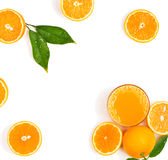 Juice and orangrs, above view. Stock Images