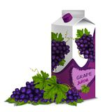 Juice pack grape. Juice drink carton box pack 3d with grape branch isolated on white background vector illustration Stock Photos