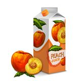 Juice pack peach. Juice carton cardboard box pack 3d with whole and cut sweet peach isolated vector illustration Royalty Free Stock Photo