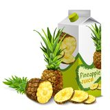 Juice pack pineapple. Juice carton cardboard box pack 3d with sliced sweet pineapple isolated vector illustration Royalty Free Stock Image