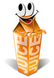 Juice packaging cartoon smile. Packaging of orange juice with a smiling face and straw Stock Images