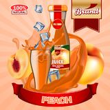 Juice Peach ads with logo and label. Realistic editable mockup. HiRes, Vector EPS10 file. 100% Layered and editable. Good for all sizes Vector Illustration
