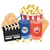 Juice, Popcorn and movie tickets Vector illustration. S stock illustration