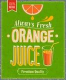 Juice Poster arancio d'annata. Fotografia Stock