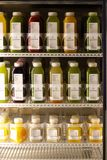 Juice in the refrigerator at New York City's Kaffe 1668 Royalty Free Stock Photos