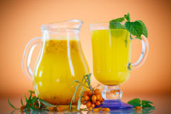 Juice from ripe sea-buckthorn berries Stock Image