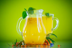 Juice from ripe sea-buckthorn berries Stock Images