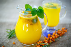 Juice from ripe sea-buckthorn berries Royalty Free Stock Images