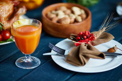 Juice and served plate Stock Image