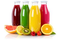 Juice smoothie smoothies in bottle fruit fruits isolated on whit. Juice smoothie smoothies in bottle fruit fruits isolated on a white background stock photography