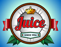 Juice or soda label. Coconut juice or soda label template with crown Royalty Free Stock Image