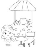 Juice stand coloring page Royalty Free Stock Image