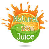 Juice Sticker Cover 100% natural alaranjado Fotografia de Stock Royalty Free