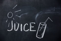 Juice and sun drawn on blackboard Royalty Free Stock Photos
