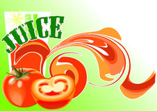 Juice_tomato. This is a background with  tomates, glass and text decorative Royalty Free Stock Images