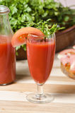 Juice of tomato in glass Royalty Free Stock Images
