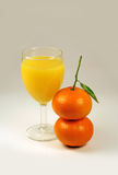 Juice and two mandarin Stock Images
