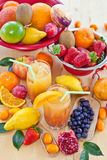 Juice from various fresh fruits Royalty Free Stock Photos