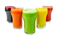 Juice vegetable in five glassful Royalty Free Stock Image