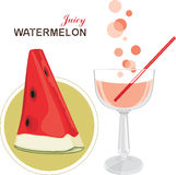 Juice and watermelon slice royalty free stock photo