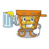 With juice wooden trolley mascot cartoon. Vector illustration vector illustration
