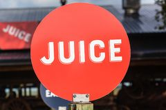 Juice Word Red Disk Sign Royalty Free Stock Image
