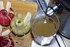 Juicer, яблоки, сок стоковое фото rf