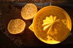 Juicer amarillo brillante de la fruta cítrica del limón todavía de la fruta a la vida Foto de archivo