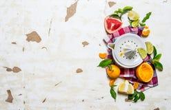 Juicer with citrus fruits - grapefruit, orange, tangerine, lemon, lime on the fabric. Stock Images