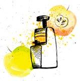 Juicer com maçã O suco de maçã com juicer e espirra, ilustração da tração da mão do esboço com os elementos da aquarela Fotografia de Stock