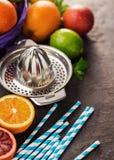 Juicer con diversos agrios, naranjas, cales y limones Fotografía de archivo