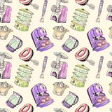 Juicer, double boiler, mixer, blender, meat grinder and coffeemaker. Kitchenware seamless pattern design, hand painted watercolor illustration with ink outline Stock Photos