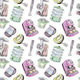Juicer, double boiler, mixer, blender, meat grinder and coffeemaker. Watercolor and ink outline illustration, seamless pattern design on white background Stock Images
