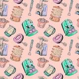 Juicer, double boiler, mixer, blender, meat grinder and coffeemaker. Watercolor and ink outline illustration, seamless pattern design on soft pink background Stock Image
