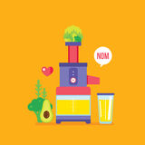 Juicer and fresh fruits greens vegetables Colorful healthy food banner Royalty Free Stock Images