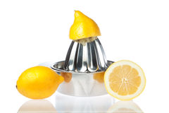 Juicer with fresh lemons. Stock Image