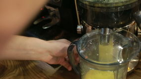 Juicer. Fresh orange juice. Barista squeezes the juice from fresh oranges. stock video