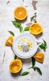 Juicer with fresh oranges. The fresh orange juice. Stock Photos