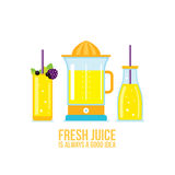 Juicer Glass of juice Smoothie bottle Organic fresh summer drinks. Vector illustration royalty free illustration