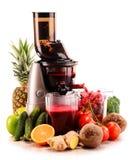 Juicer lento con las frutas y verduras orgánicas en blanco Fotografía de archivo libre de regalías