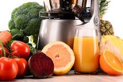 Juicer lento con las frutas y verduras orgánicas en blanco Imagen de archivo libre de regalías