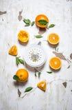 Juicer med nya apelsiner Den nya orange fruktsaften Royaltyfri Fotografi