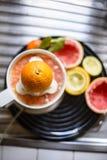 Juicer met citrusvruchten in de keuken worden gedrukt die stock afbeeldingen