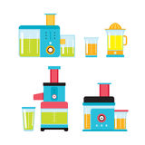 Juicer Mixer Blender Kitchen Colorful appliance set Royalty Free Stock Photography