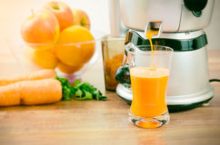 Juicer prepares fresh and healthy juice Royalty Free Stock Photos