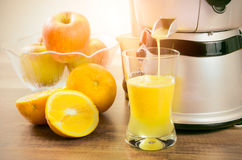 Juicer prepares fresh and healthy juice Royalty Free Stock Photo