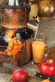 Juicer und Apfelsaft Zubereitung von gesunden frischen Säften Juicing Hauptäpfel in der Küche Verarbeitung der herbstlichen Fruch lizenzfreie stockfotografie