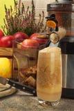 Juicer y zumo de manzana Preparación de los jugos frescos sanos Manzanas juicing caseras en la cocina Proceso de la fruta otoñal imagenes de archivo