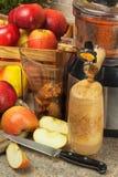 Juicer y zumo de manzana Preparación de los jugos frescos sanos Manzanas juicing caseras en la cocina Proceso de la fruta otoñal imágenes de archivo libres de regalías